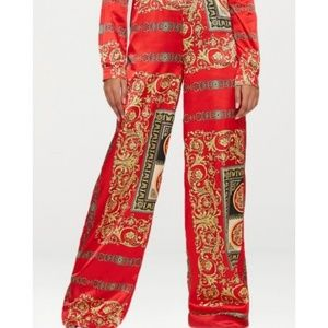 """Prettylittlething"" silky baroque red  pants , New"